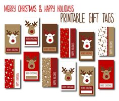 Digital Christmas Gift Tags - Red, White & Brown Reindeers - DIY Printable Merry Christmas and Happy Holiday Gift Labels, INSTANT DOWNLOAD - pinned by pin4etsy.com