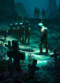 Underwater funeral...