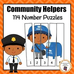 Add these colorful number puzzles to your math center during your community helpers unit! This set INCLUDES 114 number puzzles: 16 counting by and 3 number puzzles 16 counting by even numbers and 3 number puzzles 16 counting by odd numbers and 3 n. Community Helpers Activities, Community Helpers Kindergarten, Kindergarten Homeschool Curriculum, Kindergarten Math, Preschool Puzzles, Preschool Classroom, Preschool Activities, Number Puzzles, Math Centers