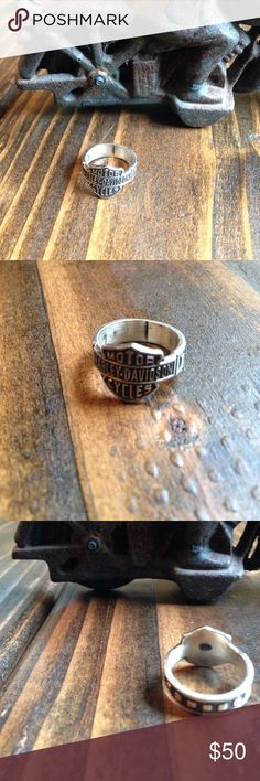 Sterling silver Harley Davidson ring This ring I believe is a size 6. It IS stamped on the inside 925 which is sterling. Harley-Davidson Jewelry Rings