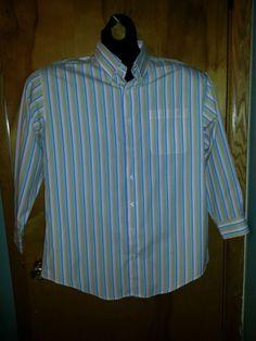 Nautica Orange Blue Green White Striped Button Down Men's Dress Shirt 18.5 32/33 $19 Free Shipping!