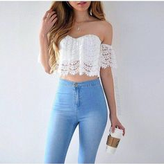 Crop Top Outfits The summer season demands light, airy, breathable dresses in fabrics like cotton and in soft, muted colors that reflect the sunlight. There are multiple options for women's s… Teen Fashion Outfits, Girly Outfits, Cute Summer Outfits, Outfits For Teens, Spring Outfits, Trendy Outfits, Girl Fashion, Cool Outfits, Outfit Summer