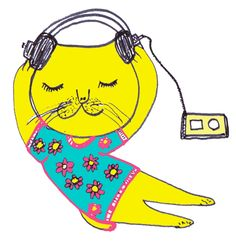 The thing to listen to music is a thing to see the world. By Pepe Shimada Japanese Artists, Listening To Music, Cat Art, Drawings, Artwork, Prints, Illustrations, Fictional Characters, Facebook