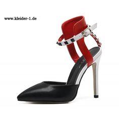 High Heels Sandaletten Schwarz Rot Weiss