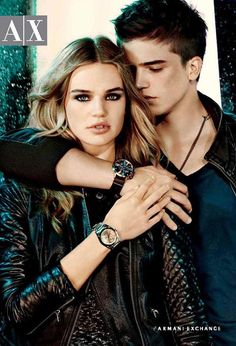 Armani Exchange Watches FW 2011 Milou Sluis & River Viiperi, love her watch, with red lips, a Wildfox t-shirt and dangly earrings
