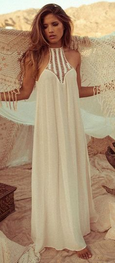 White Patchwork Lace Hollow-out Loose Chiffon Dress - Maxi Dresses - Dresses