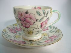Foley Tea Cup and Saucer, Ivory tea cup and saucer set, Floral Tea cup and saucer. by BeadsbyVince on Etsy