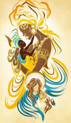 Oxum e NS da Conceicao by OradiaNCPorciuncula on DeviantArt African American Art, African Art, American Artists, Sexy Black Art, Black Women Art, Yemaya Orisha, Oshun Goddess, Orishas Yoruba, African Goddess