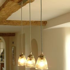 Kitchen Pendants - Line a Row of These Trio Paris Ceiling Lights. Sophisticated French-style Fluted Glass Lights Hung above a Dining Table or anywhere else you want to Highlight to Create a Stunning