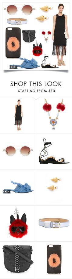 """""""Knit Weave Dress with Crochet"""" by ramakumari ❤ liked on Polyvore featuring Tess Giberson, Dolce&Gabbana, Komono, Dsquared2, Vita Fede, STELLA McCARTNEY, Alexander Wang and Fendi"""