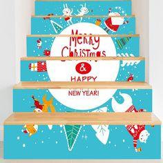 Christmas Elements Letter Print DIY Stair Stickers - BLUE 100*18CM*6PCS