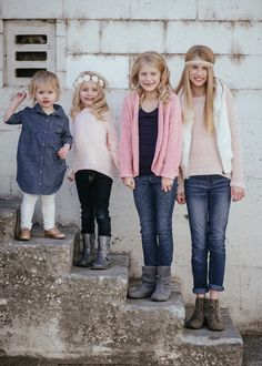 Matt Shumate Phtoography family portrait photo session sisters standing on steps in urban downtown spokane rustic