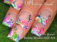 No Water Needed - Pink Diva DIY Drag Marble nail art Tutorial Nail Art Designs, Marble Nail Designs, Marble Nail Art, Painted Nail Art, Nail Polish Designs, Design Art, Hand Painted, Neon Nail Art, Neon Nails