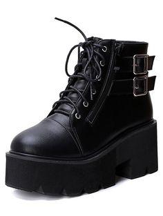 Black Lace Up Buckle Strap Zipper Wedges Boots 36.67