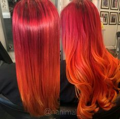 Red orange hair - All For Hair Color Balayage Red Orange Hair, Yellow Hair, Dyed Red Hair, Ombre Hair, Red Ombre, Hair Dye, Cheveux Oranges, Flame Hair, Blonde Dye