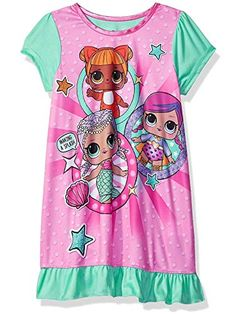 This adorable LOL Surprise nightgown is sure to bring a smile to any girl's face! This dorm features cute sublimated graphics of her favorite L. collectible dolls: Merbaby, Baby Cat, and Super B. Little Girl Outfits, Little Girls, Cute Outfits, Baby Girl Toys, Toys For Girls, Barbie Doll Set, Long Sleeve And Shorts, Girls Pajamas, Lol Dolls