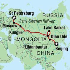 Travel the Trans Siberian Railway through Russia.
