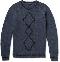 EtroArgyle Ribbed-Knit Wool Sweater