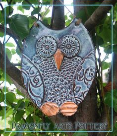 Hand made Owl Wall Hanging - Pottery Stoneware Garden Ornament. $27.00, from DraognflyArts