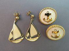 Lot 2 Nautical Earrings Trifari TM Enamel Anchor Sail Boats Cream Gold Plated #Trifarianchors #DropDangle