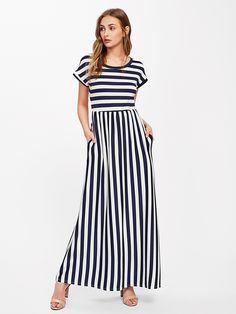 Vestido   largo de rayas -Spanish Romwe