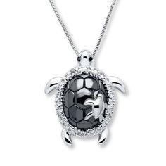 5397ea363ee Turtle Necklace Black White Diamonds Sterling Silver