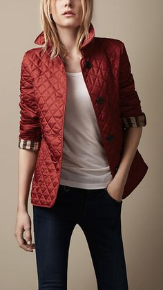 Burberry Brit Cinched Waist Quilted Jacket