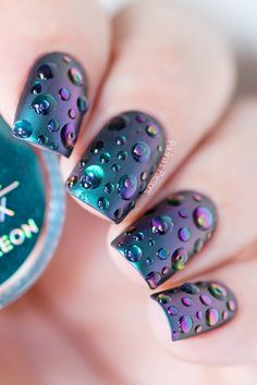 Multichrome raindrops nail art tutorial (with video) using the beautiful Indigo Nails Metal Manix Chameleon in the color Butterfly. Simple Acrylic Nails, Metallic Nails, Simple Nails, Classy Nails, Colorful Nail Designs, Simple Nail Designs, Nail Art Designs, Tattoo Designs, Cute Nail Art