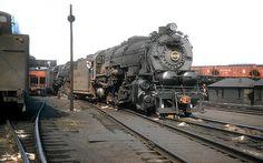 Pennsylvania Railroad 2-10-0 Decapod, I1 class, steam locomotive # 4678, is seen at the railroad's locomotive facility in East Altoona, Pennsylvania, September 1955, John Dziobko Jr. Photo