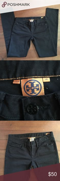 """Tory Burch Black Super Skinny Jeans Tory Burch Skinny Jeans in the color black. Size 28. Great condition! Inseam- 34"""".      Waist- 15"""" flat Tory Burch Jeans Skinny"""