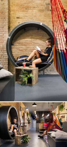 This circular reading nook with comfy pillows is inside a juice bar in Barcelona.