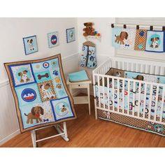 Sumersault Puppy Pals 9-Piece Nursery-in-a-Bag Crib Bedding Set with BONUS Bumper
