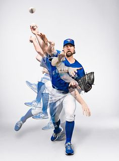 Dylan's photography of knuckle ball pitcher R. A. Dickey is featured in the American Photography 30 annual. Baseball Toronto, Blue Jay Way, Baseball Boys, Softball, Baseball Photography, Baseball Training, Multiple Exposure, Sports Graphics, Mlb Teams