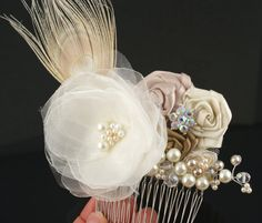 Bridal Hair Comb Fascinator Handmade Organza and Satin Flowers, Jewels, Crystals and Czech Pearls $105.00