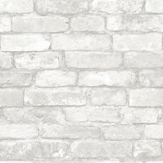 Peel and Stick Wallpaper, Grey and White Brick, Gray