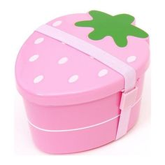 cute japanese pink strawberry Bento Box lunch box ❤ liked on Polyvore featuring home, kitchen & dining, food storage containers, pink lunch box, japanese bento box, pink bento box, japanese lunch box and compartment lunch box
