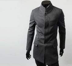 Men Casual Fashion Cool Chinese Tunic Style Stand-UP Collar Jackets Coats | eBay