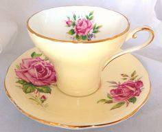 Yellow Pink Rose Aynsley English Fine Bone China Floral Vintage Teacup & Saucer Set - pink roses pale yellow pastel - painted cup on Etsy, $25.00