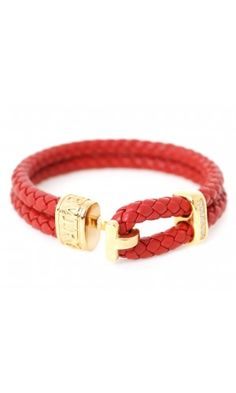 Trice Braided Leather Bracelets Red