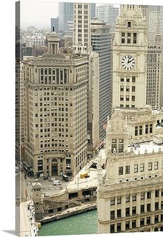 Clock tower along a river Wrigley Building Chicago River Chicago Illinois USA Canvas Art - Panoramic Images x Chicago Usa, Chicago River, Chicago Photos, Chicago City, Chicago Skyline, Chicago Illinois, Visit Chicago, Jamaica, Equador