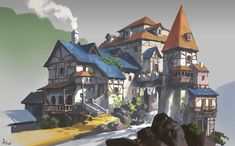 Practice and Painting process, ling xiang Fantasy City, Fantasy House, Fantasy Places, Fantasy World, Fantasy Landscape, Landscape Art, Buildings Artwork, Cartoon House, Medieval Houses