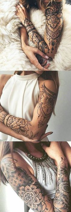 Lotus Arm Sleeve Tattoo Ideas for Women at MyBodiArt.com - Tribal Mandala Arm Bicep Tatt