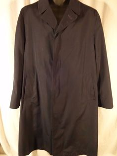 Mens Overcoat 42 Removable 100% Wool Lined SAKOWITZ STUART REED Navy 42R #StuartReed #Overcoat