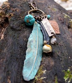 Feather Necklace, Verdigris Patina Necklace, Feather Necklace, Beaded Long Necklace, Boho Style Jewelry, Fall Fashion via Etsy.