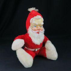 SOLD! Santa Claus Doll Plush Figure Musical Mid Century Vintage 1950s