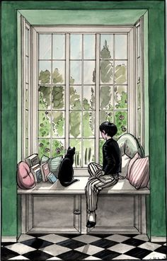 'By The Window' , made by: Cidaq aka Luisa Kelle - (Black cat) Watercolor Illustration, Watercolor Paintings, Watercolour, She And Her Cat, Black Cat Art, Black Cats, Foto Art, Window Art, Art Drawings Sketches
