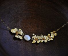 Asymmetrical Gold Dogwood Necklace/ Flower Necklace/ Feminine Necklace/ Gold Necklace/ Gold Pearl Necklace/ Pretty Necklace by YsmDesigns on Etsy