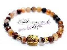 BUDDHA náramok gold achát stripe Buddha, Beaded Bracelets, Gold, Jewelry, Jewlery, Jewerly, Pearl Bracelets, Schmuck, Jewels