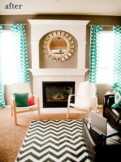 chevron rug... noticing the curtains.  I dont love the color scheme, but noticing the pattern on pattern working  POv3a , everyone my package arrived. The Coach stuff is perfect check it out here http://www.superspringsales.com