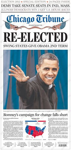 Newspaper Front Pages Cover Obama's Re-Election